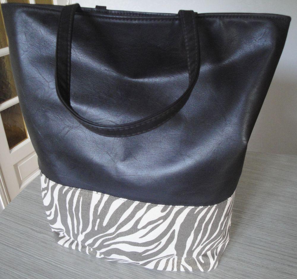 Grand sac cabas cuir et toile Roberto Cavalli, TBE 130 Menton (06)