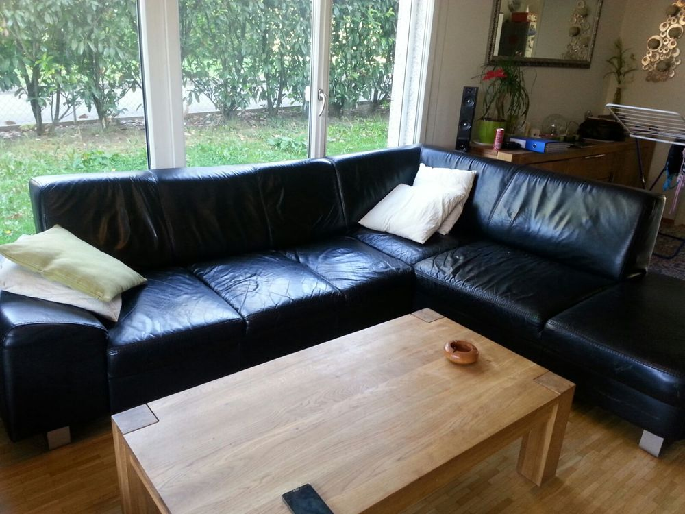 Grand canapé d'angle cuir noir 400 Ségny (01)
