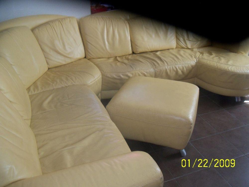 grand canapée en cuir jaune   0 Carbonne (31)