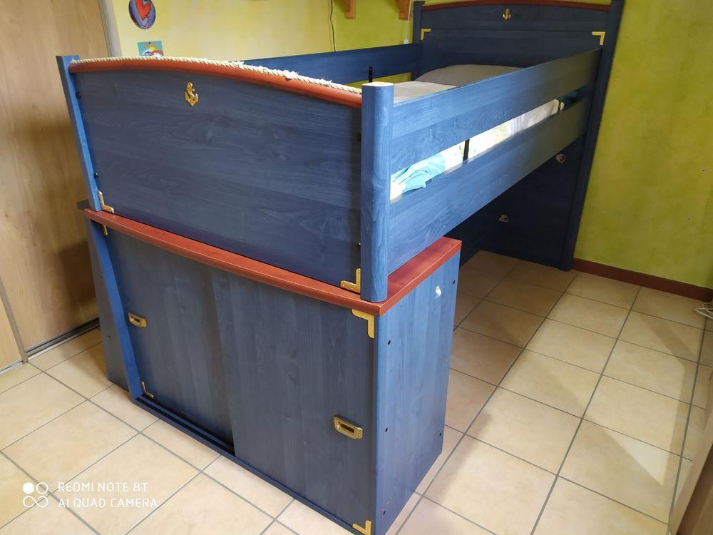 Grand lit enfant 90 x 200 cm avec nombreux rangements Meubles