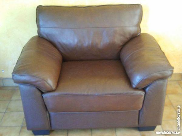 Grand fauteuil façon cuir couleur cognac 100 Maule (78)