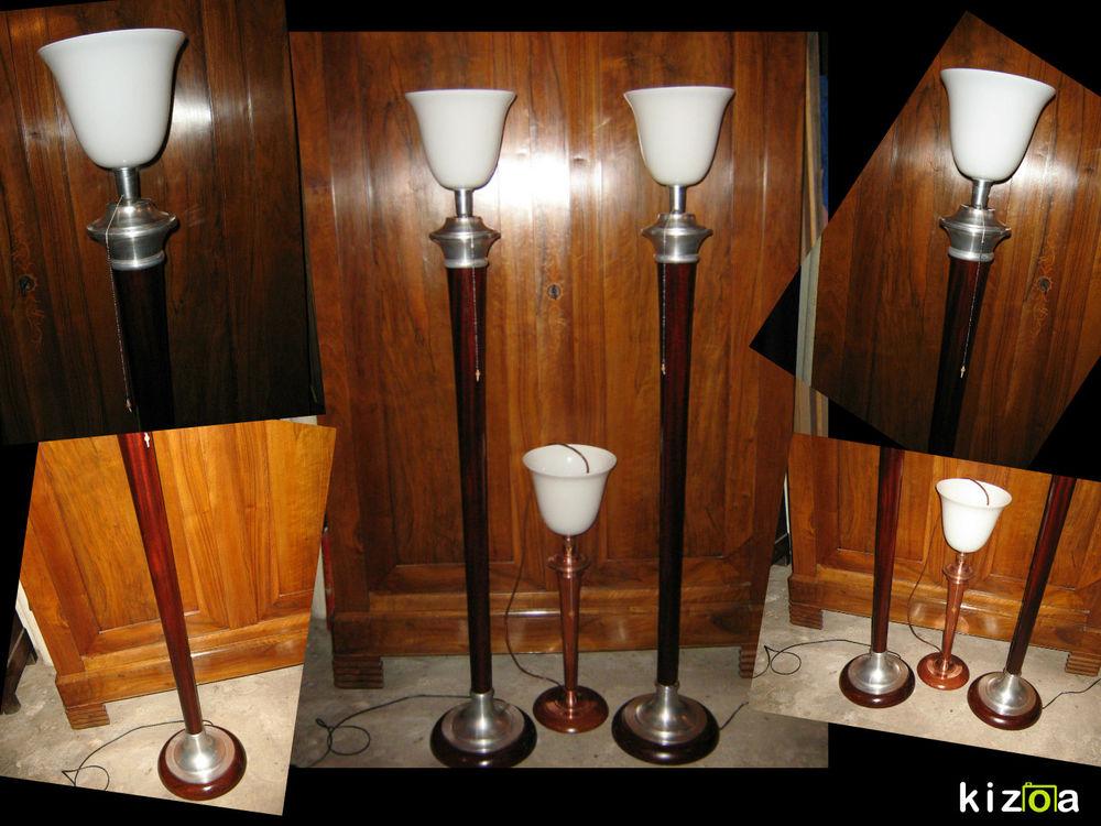GRAND LAMPADAIRE MAZDA ÉPOQUE 1930 LAMPE chrome alu et bois  850 Marseille 13 (13)