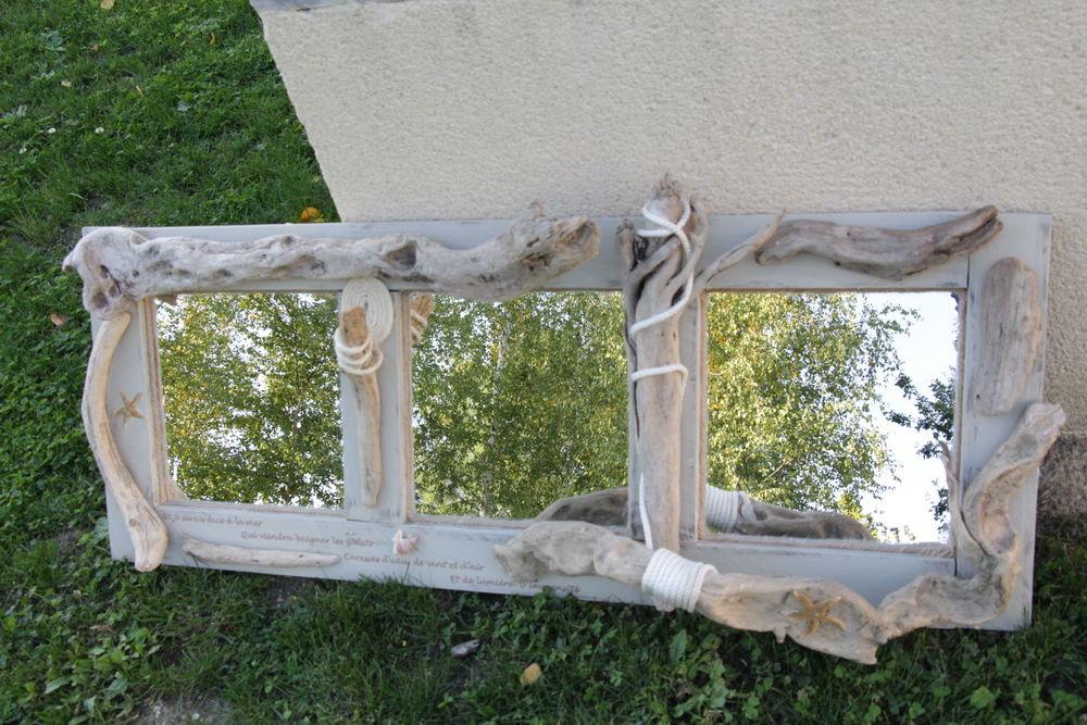 Grand miroir triptyque en bois flotté 129 Saint-André-de-Cubzac (33)