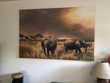 Grand tableau unique de la savane avec des éléphants Décoration