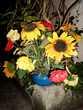 """Grand vase bouquet de fleur """"Tournesol"""" Décoration"""