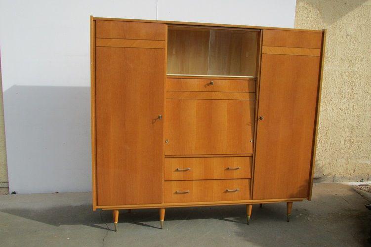 Grande armoire vintage , 5 en 1 en chêne marqueté Meubles