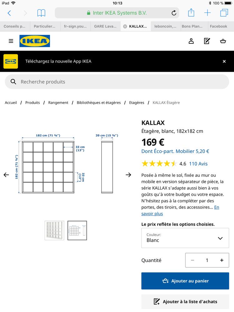 grande étagère blanche IKEA Kallax 1m82 par 1m82 115 Lyon 4 (69)