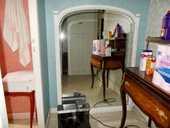 Grande glace miroir  blanc bleu  de cheminée (ancienne) 450 Monflanquin (47)
