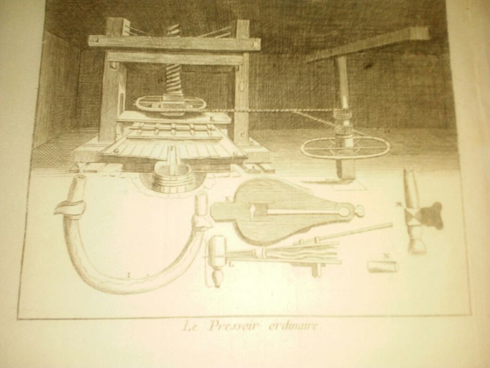 gravure 1736 titre Le Pressoir ordinaire