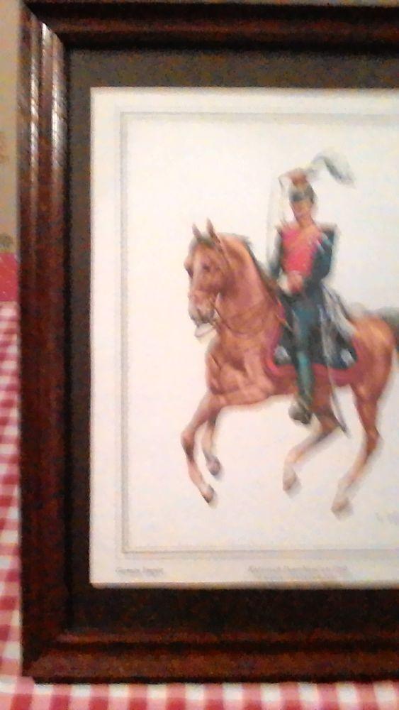 Gravure encadrée cavalier militaire signée 0 Payrac (46)