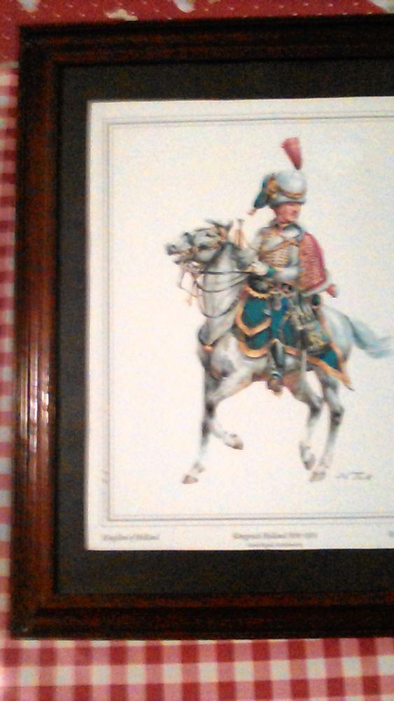 Gravure encadrée cavalier militaire, signée 0 Payrac (46)