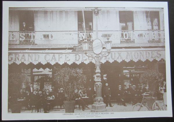 Gravure GRENOBLE, Le Grand Café des Deux Mondes, 1900 5 Sassenage (38)