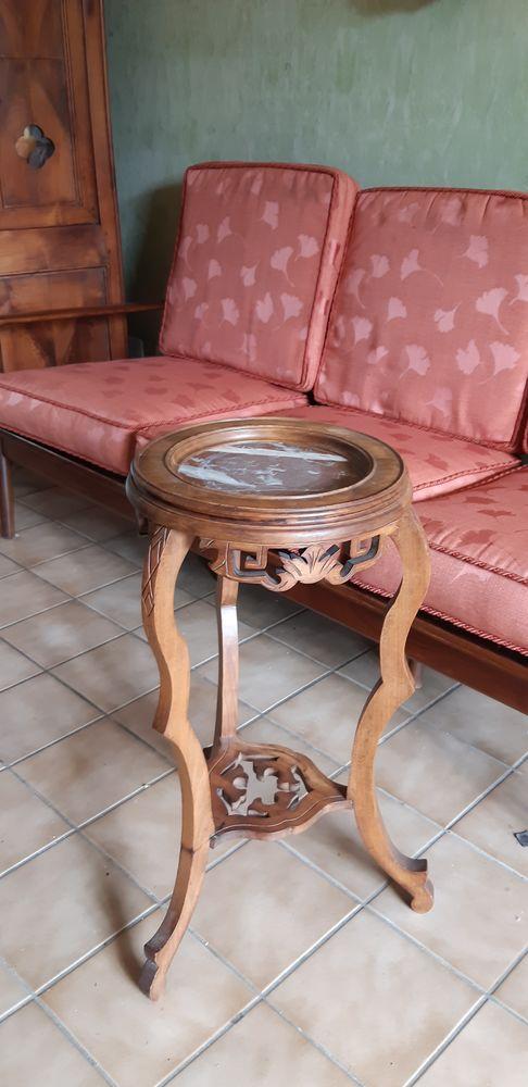 Guéridon en bois et marbre, XIX 40 Nogent-sur-Marne (94)
