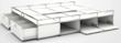 Lit usm Haller 200x160 blanc rangements tiroirs