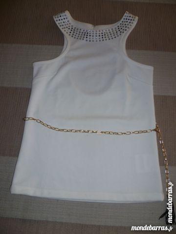 Haut blanc 36 sans manche strass au col + ceinture 6 Issou (78)