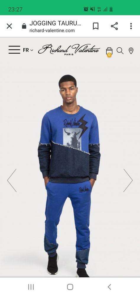 Haut de Jogging 100% coton bleu, en bi-matières coton jersey Vêtements