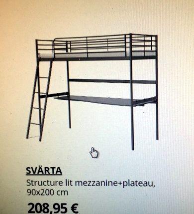 Lit en Hauteur avec bureau couleur blanc type Ikea Svärta 85 Boulogne-sur-Mer (62)
