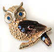 HIBOU YEUX BLEU EMAIL ANCIENNE BROCHE VINTAGE or