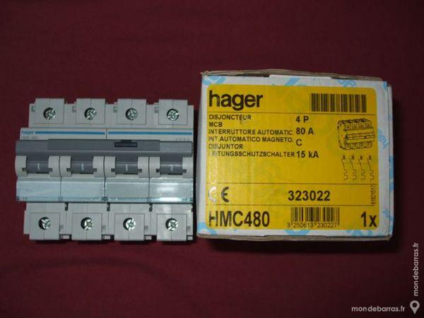 Réf HMC480 DISJONCTEUR HAGER 4P 80A C 415V 15kA 270 Tergnier (02)