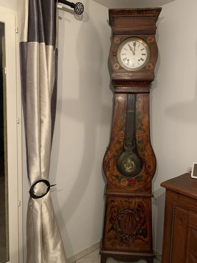 Horloge comtoise ancienne avec polychromes Meubles