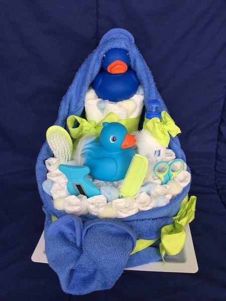 idée cadeau pour bébé: gateau de couche de bain bleu/vert 40 Ancenis (44)