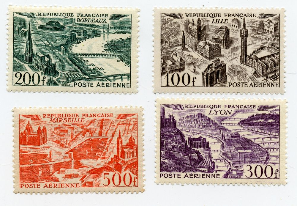 IMBRES FRANCE 1949  Poste Aérienne ** PA n° 24 à 27** 40 Nîmes (30)