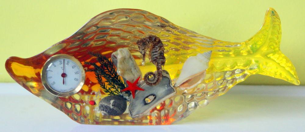 Inclusion baromètre vintage 60 poisson jaune 30 Issy-les-Moulineaux (92)