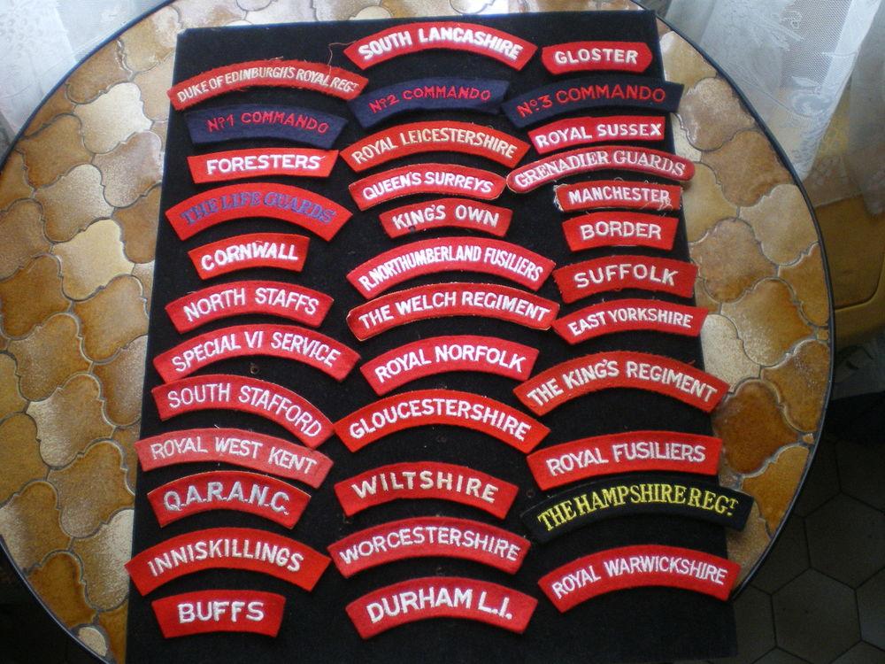 Insignes d'épaules en tissu de régiment britannique