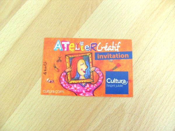 Invitation à un Atelier Créatif 2h chez Cultura 0 Ardoix (07)