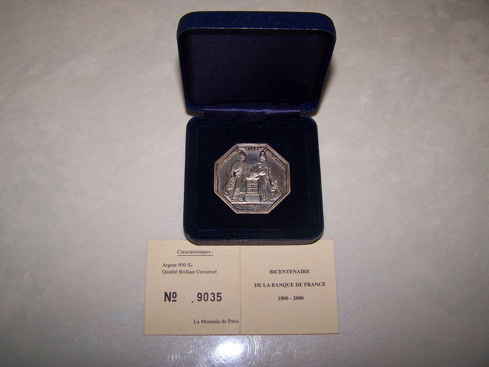 Jeton Pièce collection argent bicentenaire Banque de France 45 Pardies (64)