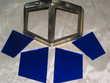 Jeux de 4 verres de lampe PIROUETT DE BUREAU vitrail bleu po Marseille 13 (13)