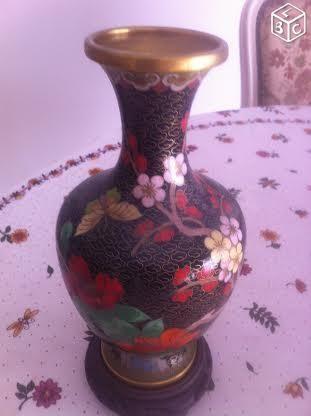 Joli vase cloisonnet support ébène 40 Paris 20 (75)
