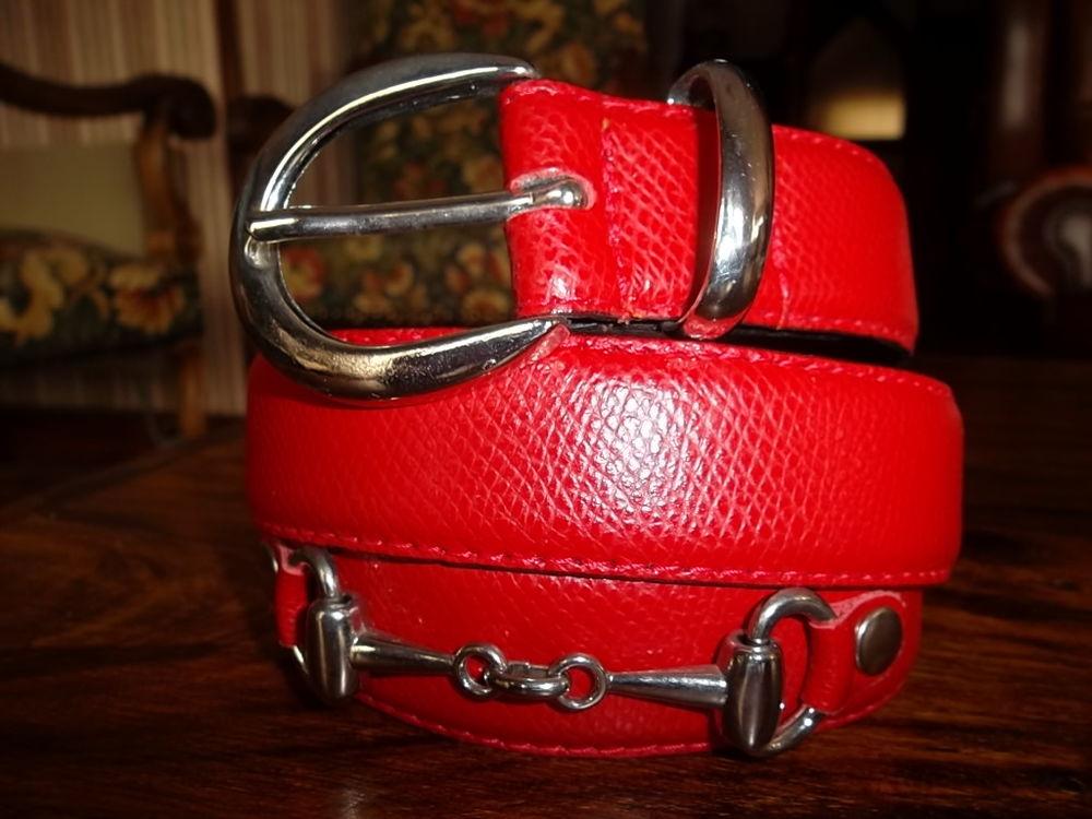 Jolie ceinture rouge en croûte de vachette 8 Tonnoy (54)