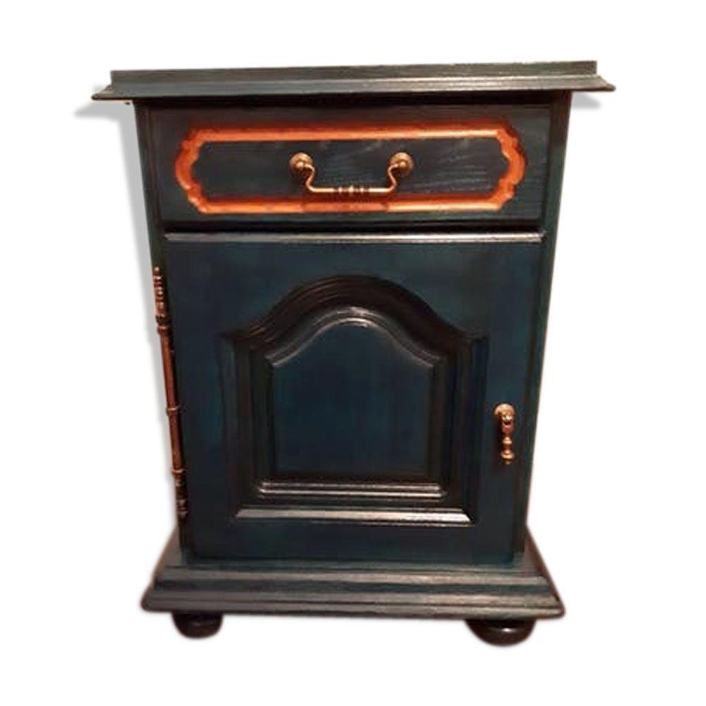 Jolie table de chevet bleu vintage en bois massif 50 Le Thillay (95)