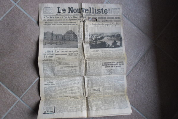 Journal le Nouvelliste du mercredi 20 septembre 1939  53 Collonges (01)