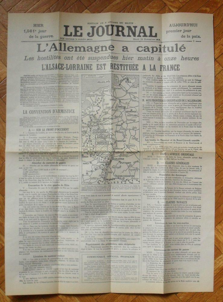LE JOURNAL du 12 NOVEMBRE 1918 édition de 5h du matin 50 Montreuil (93)