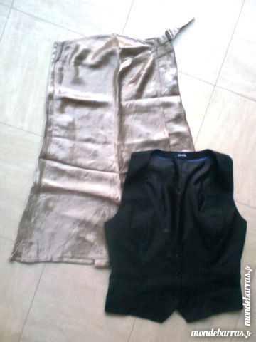 jupe portefeuille satinée, gilet - zoe 4 Martigues (13)