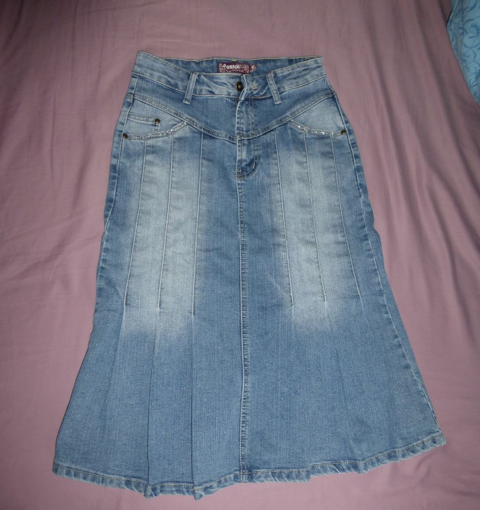 JUPE TRAPEZE jeans bleu délavé - M 5 Doussard (74)