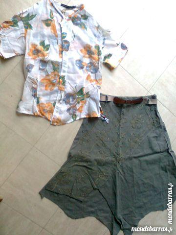 jupe vert kaki +chemisier léger - M - zoe 3 Martigues (13)