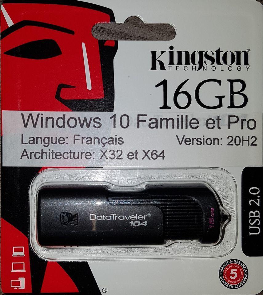 Clé USB Kingston 16 Go Bootable Windows 10 avec licence 30 Roubaix (59)