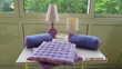 Lot 2 lampes violettes + 4 coussins