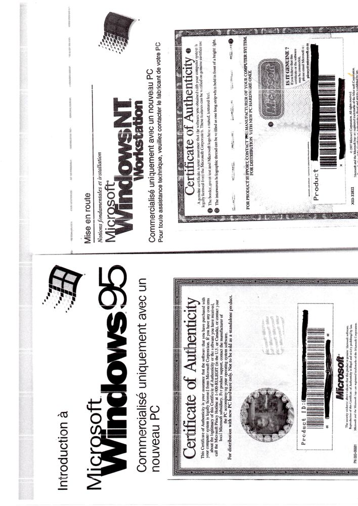 licence logiciel Windows NT Workstation Année 1997 Matériel informatique