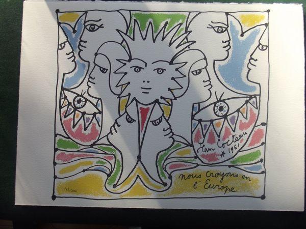 Lithographie de jean COCTEAU Nous croyons en l europe 85 Mérignac (33)