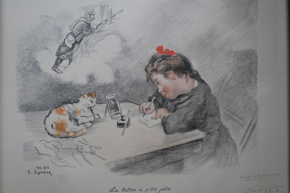 Lithographie de T SYNAVE  La lettre à p'tit père  1914-1915 80 Poissy (78)
