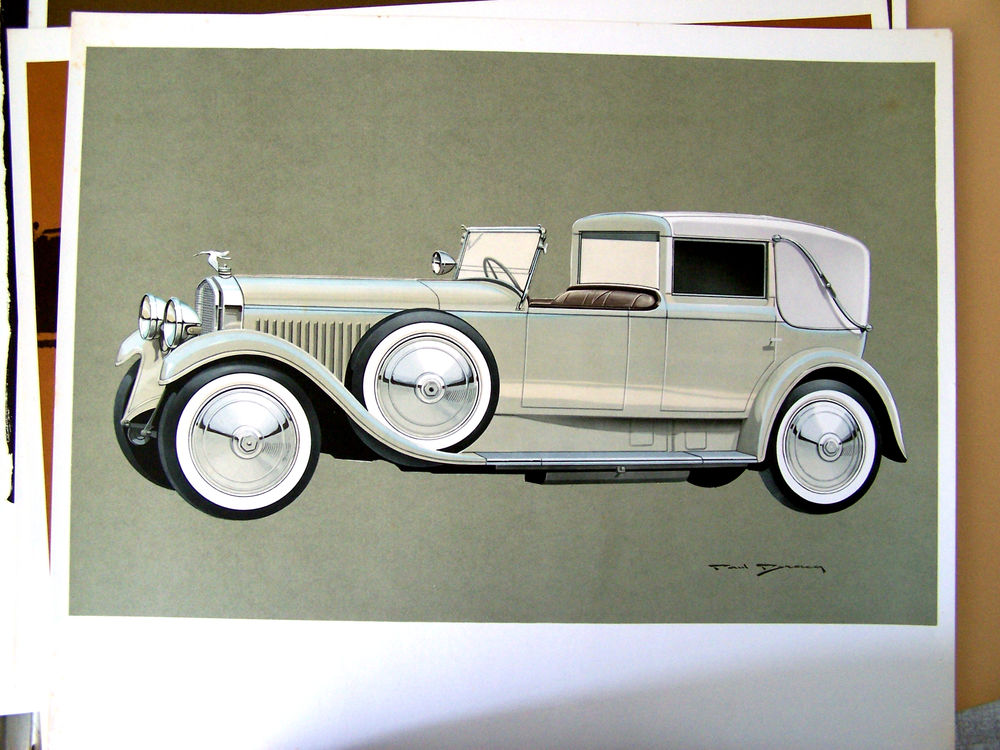 12 lithographies offset voitures anciennes Paul Bracq 300 Concarneau (29)