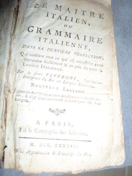 LIVRE ANCIEN 1787 LA GRAMMAIRE ITALIENNE Livres et BD
