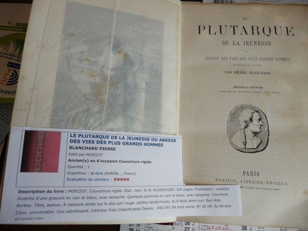 Livre ancien le plutarque de la jeunesse ou abrégé 60 Pontault-Combault (77)