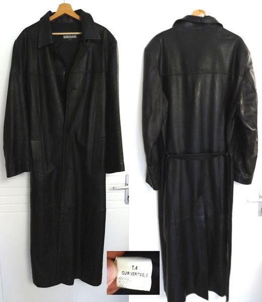 59d274624d3e Long manteau en cuir noir - homme - XL Vêtements