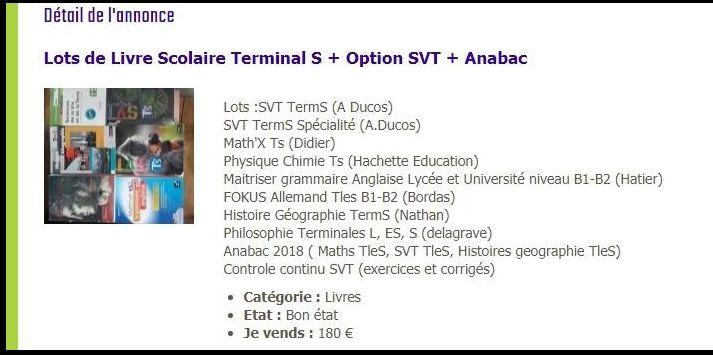 Lots de Livre pour Terminal S + SVT + Anabac 180 Soultz-les-Bains (67)