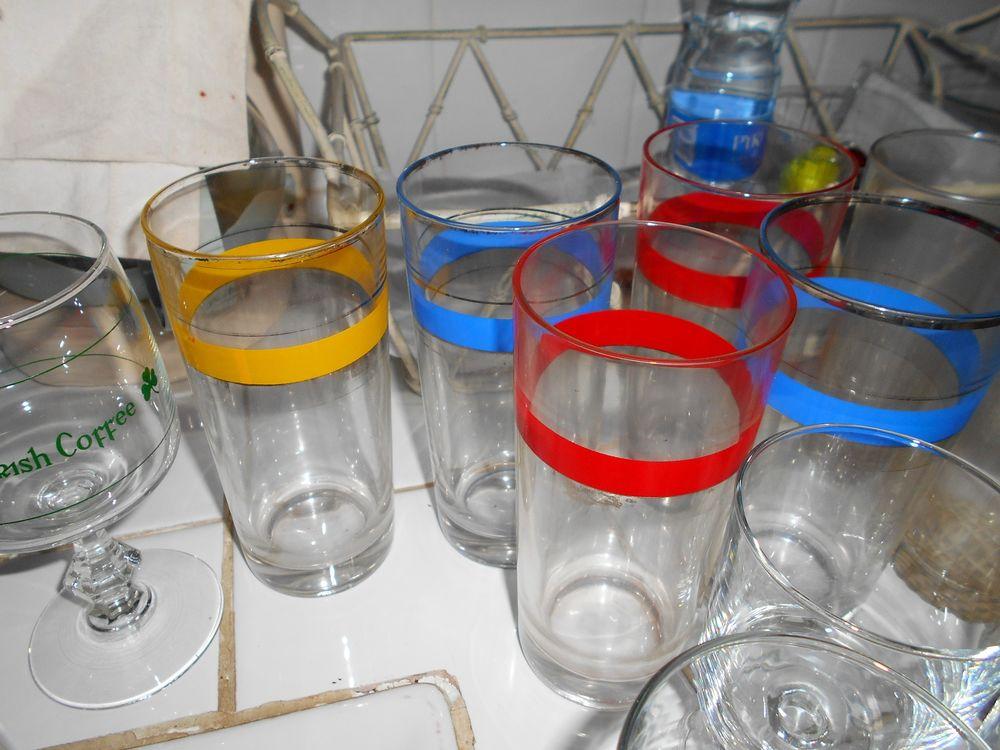 2 Lots de 5 verres de couleur Décoration